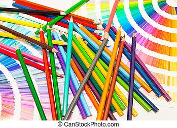 matite colorate, e, colore, di, tutto, colori