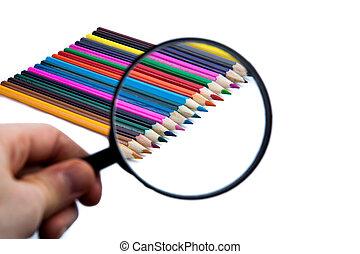 matite, colorato, fila