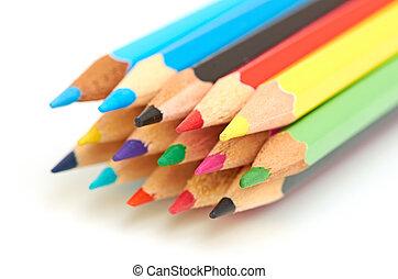 matite, colorato, macro