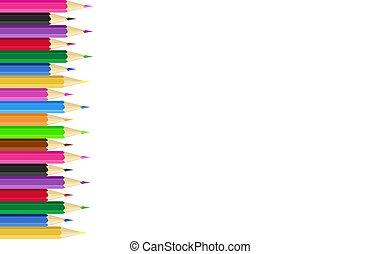 matite, colorato, manifesto, cornice, fondo., vettore, illustration.