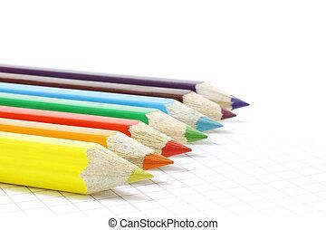 matite, colore, blocco note, grande