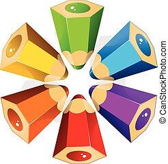 matite, colore, stella