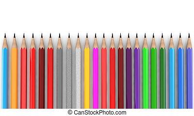 matite, colori, vario, bianco, fila
