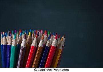 matite, colorito, fondo, copyspace