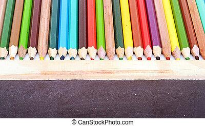matite, colorito, lavagna