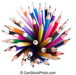 matite, colorito, tazza