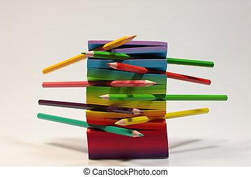 matite, coloritura, colorato, ufficio, scuola, disegnare