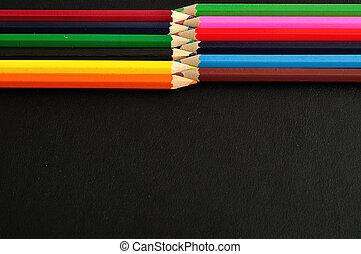 matite, coloritura, nero, isolato, fondo