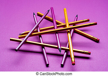 matite, concetto, viola, colorito, fondo.