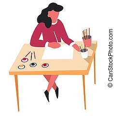 matite, donna, arte, attività agio, hobby, disegno