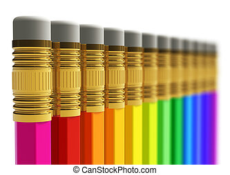 matite, fila, arcobaleno
