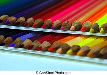 matite, fondo., colorato, bianco, isolato