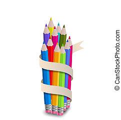 matite, nastro bianco, fondo, colorito
