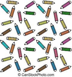 matite, pastelli, fatto, colorito, modello, -, seamless, fondo, bianco