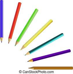 matite, pastelli, set, colorato, isolato, fondo., bianco