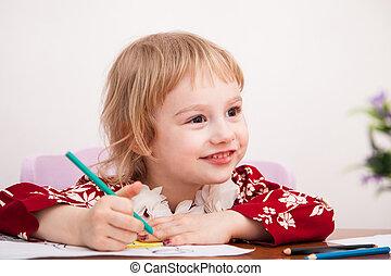 matite, poco, carta colorata, ragazza, disegno