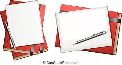 matite, quaderni, rosso