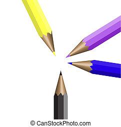 matite, quattro, colore