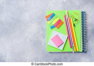matite, rifornimenti scuola, quaderni, grigio, space., fondo, copia