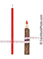 matite, righello, magro, spesso, bianco rosso, isloated