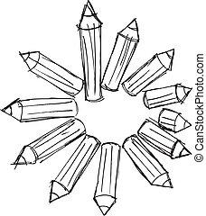 matite, schizzo, organizzato, illustrazione, vettore, circle...