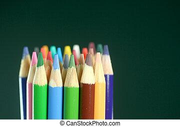 matite, scuola, colorato, campo, profondità, estremo