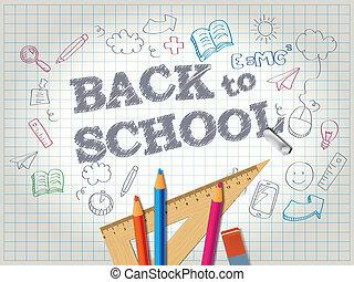 matite, scuola, doodles, indietro, manifesto