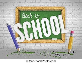 matite, scuola, indietro, chalkboard verde, benvenuti