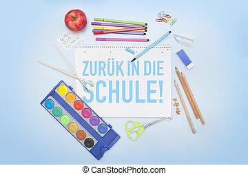 matite, scuola, -, indietro