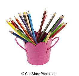 matite, secchio, colorito
