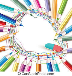 matite, sfondo colorato