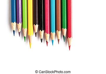 matite, su, fondo, colore, isolato, chiudere, bianco