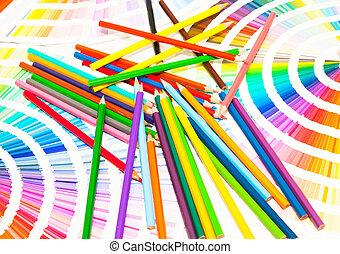 matite, tutto, colorato, colorare, grafico, colori
