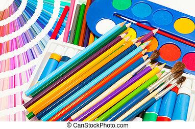 matite, vernice, e, colore, di, tutto, colori