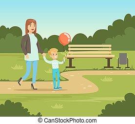 matka, a, ji, syn, chůze, do, léto, sad, mimo, rodina, volno, vektor, ilustrace