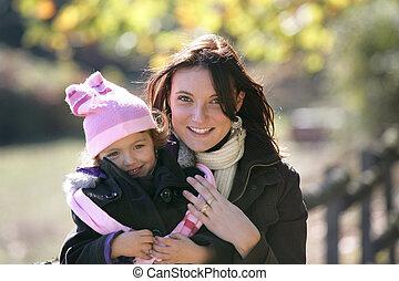 matka, jasný, dohromady, dítě, udělat si rád, den out
