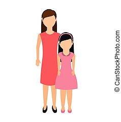 matka, s, dcera, osamocený, ikona