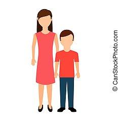 matka, s, syn, osamocený, ikona