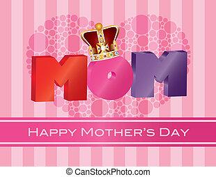 matki, alfabet, korona, powitanie, ilustracja, mamusia, dzień, karta