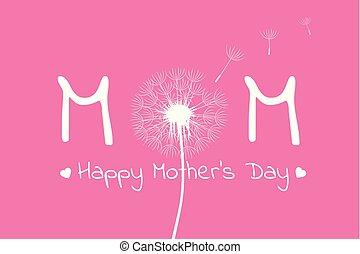 matki, mniszek lekarski, typografia, serca, dzień, szczęśliwy