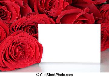 matki, valentine, albo, róże, karta, kopia, dzień, opróżniać, czerwony