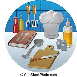 matlagning, ikon, begrepp