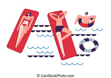 matrassen, of, zwemmen, zee, lifebuoys, pool, gezin, inflatable