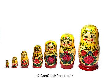 Matreshka line izolated on white russian doll