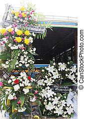 matriarch., 葬式, phuket\\\'s, トラック, 飾られる, 花