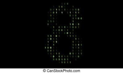 matrice, style, code, binaire, écran