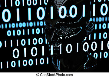 matrice, testa, materiale, codice, cromo, umano