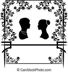 matrimonio, 2, fiori, silhouette