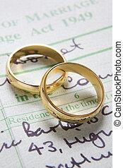 matrimonio, anillos, certificado, oro, boda