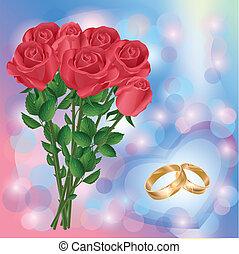 matrimonio, augurio, o, invito, scheda, con, rose rosse